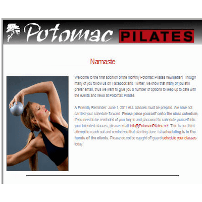 Potomac Pilates: eNewsletter