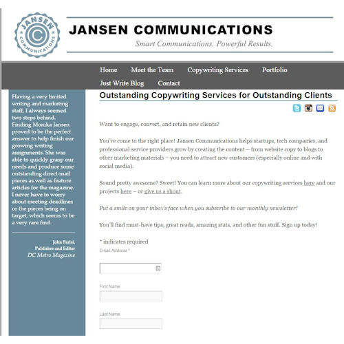 Jansen Communications before Social Light website redesign