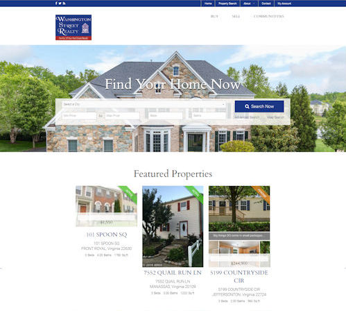 Washington Street Realty - Social Light Web Design Portfolio