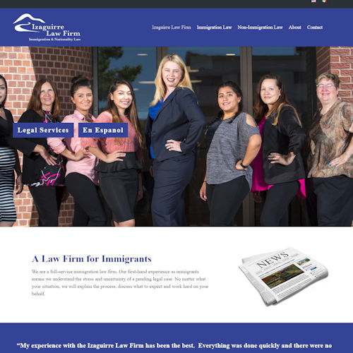 izaguirre law firm - Social Light Web Design Portfolio