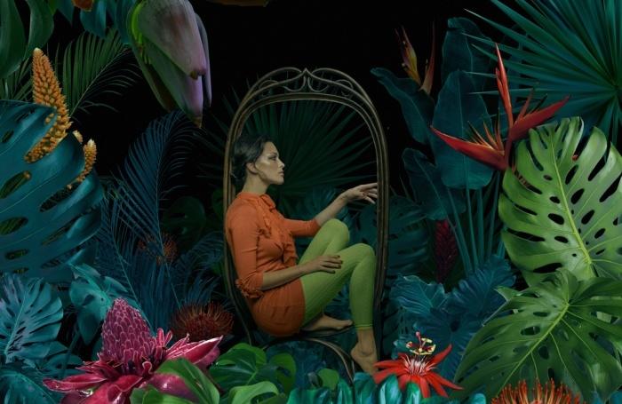 woman on swing in jungle